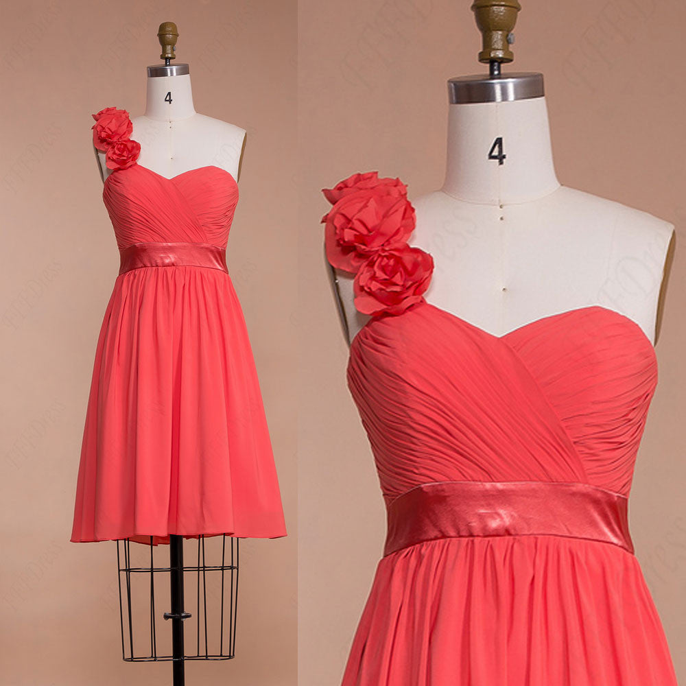 Short flowers coral bridesmaid dresses knee length mypromdress short flowers coral bridesmaid dresses knee length ombrellifo Image collections