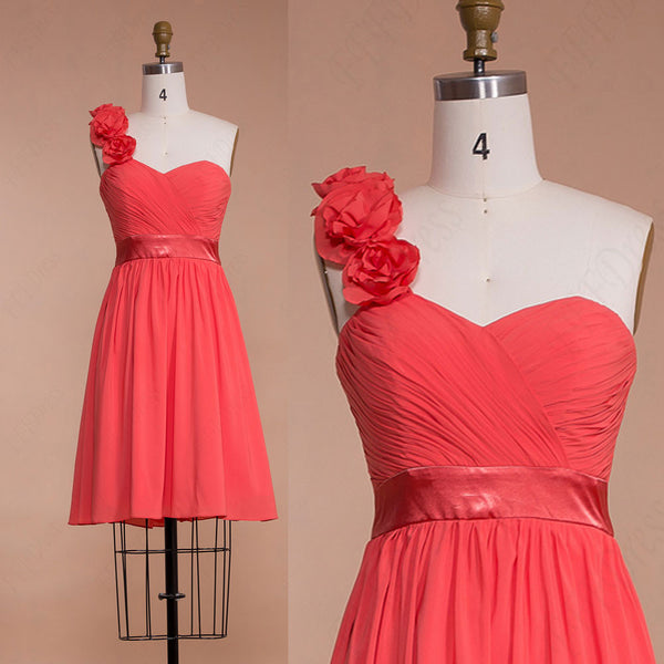 Short Flowers Coral bridesmaid dresses knee length