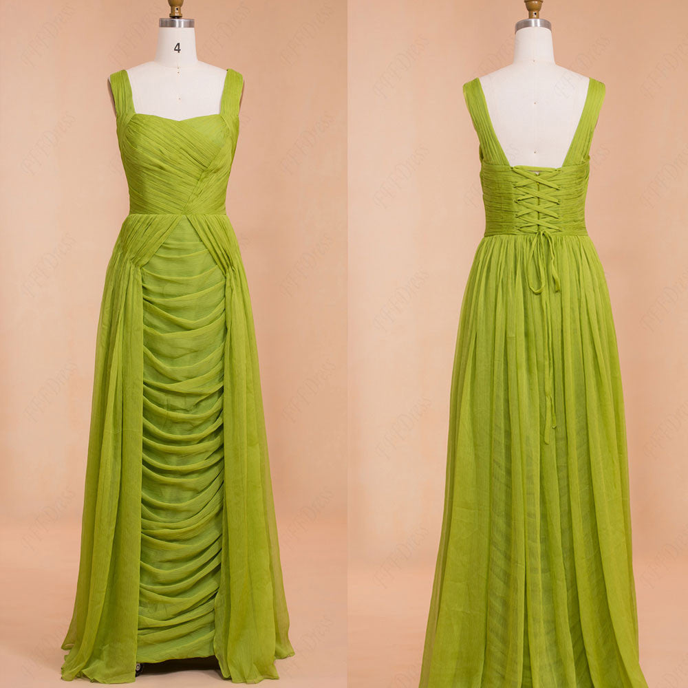 Ruched Lime green Chiffon Long Prom Dresses
