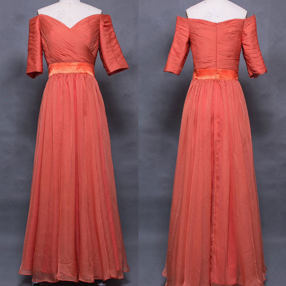 off the shoulder Burnt orange evening dress with sleeves formal dress