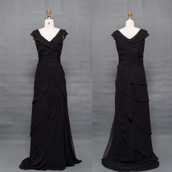 Black modest mother of the bride dress cap sleeves