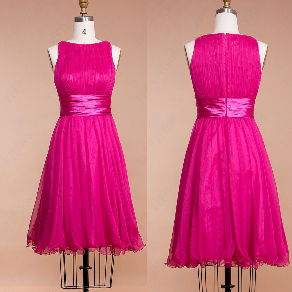 Modest Fuchsia Prom Dresses Tea Length Homecoming Dresses