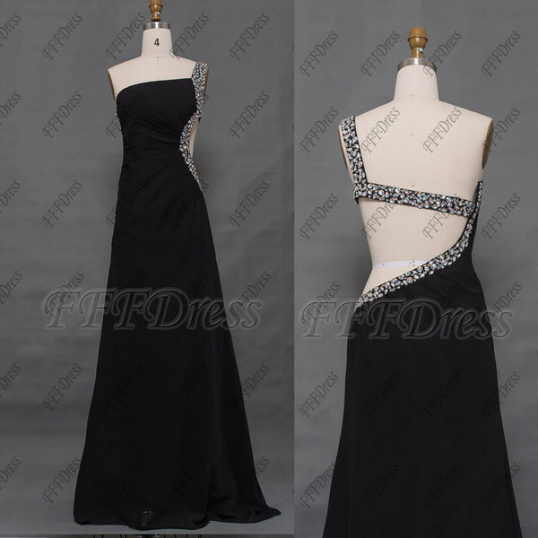 Backless black crystal prom dress long