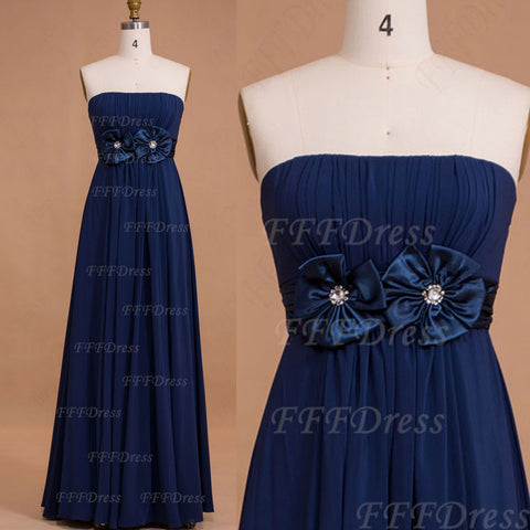 Strapless Navy Blue Long Bridesmaid Dresses with Flowers