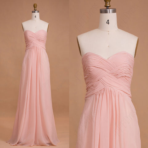 Light pink long bridesmaid dresses