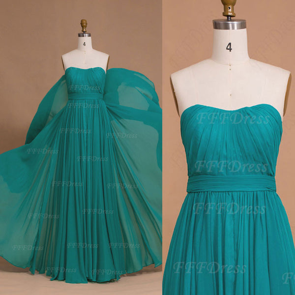 Elegant Flowing Chiffon Green Long Prom Dresses