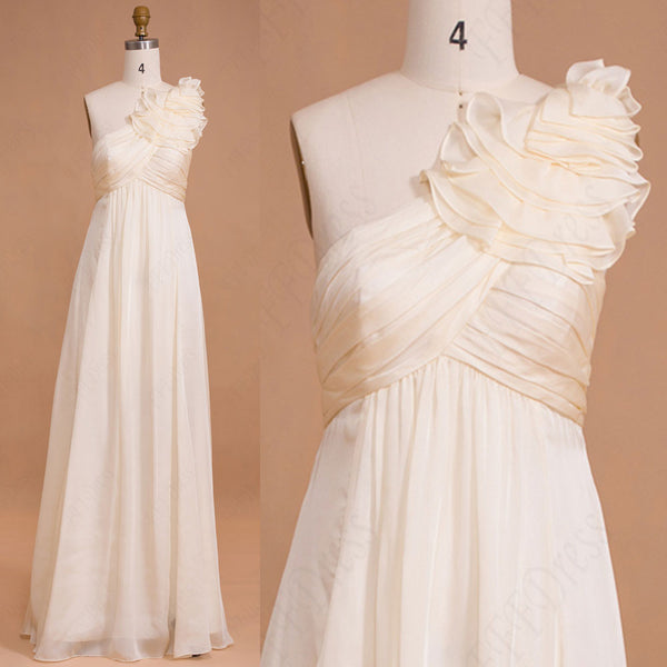 One shoulder Creme Maternity bridesmaid dresses for pregnant