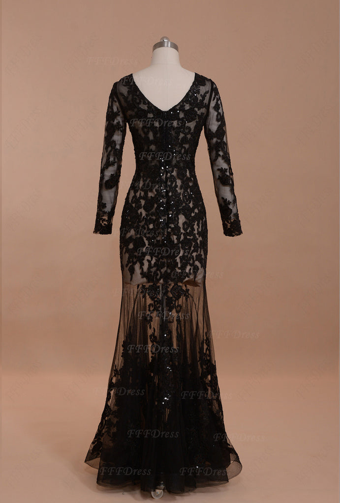 Black Mermaid Prom Dresses Long Sleeves See Through Sparkle Pageant ...