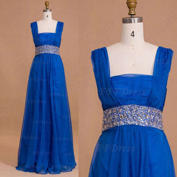 Square neck royal blue mother of the bride dresses