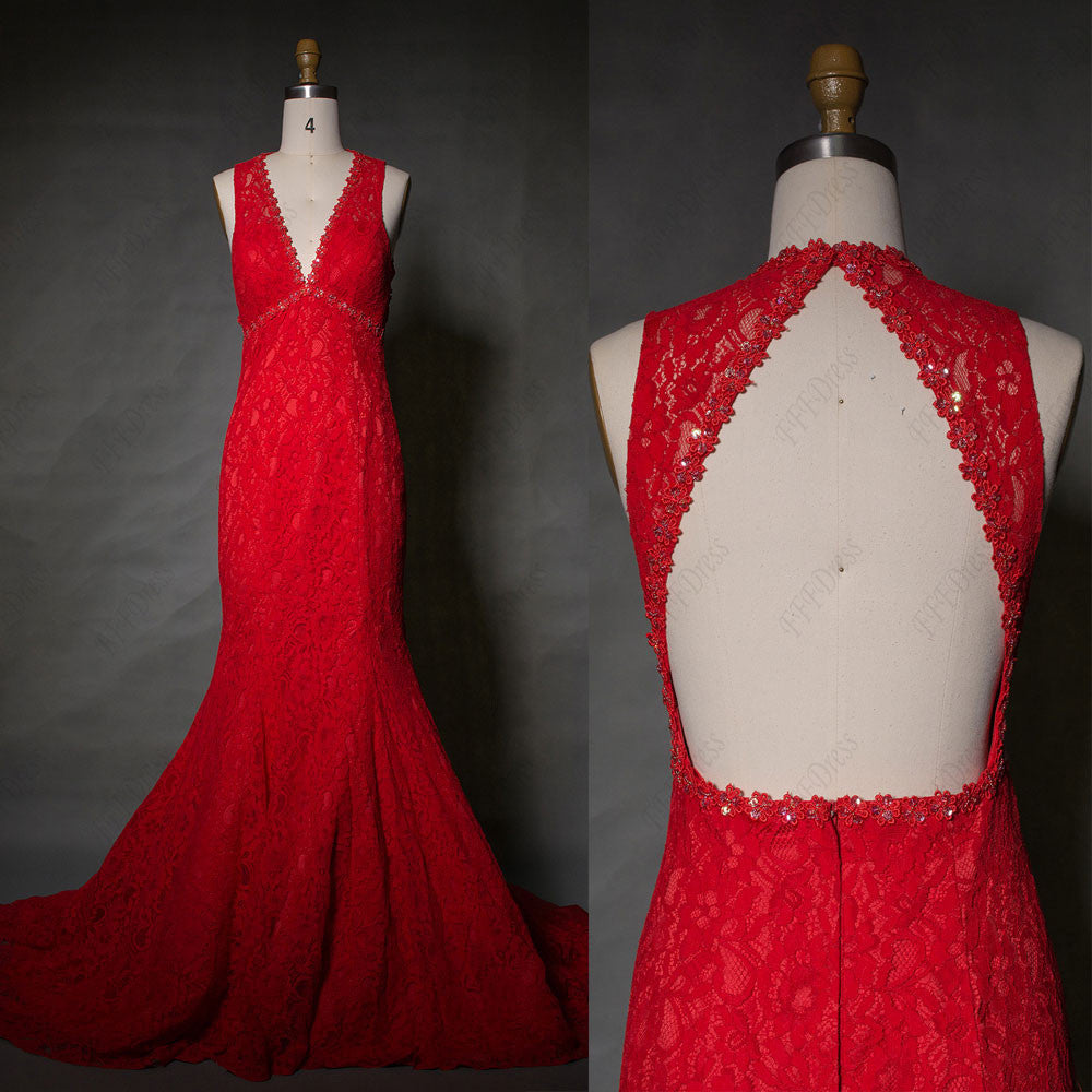 Red Mermaid Lace Backless Prom Dress long with train