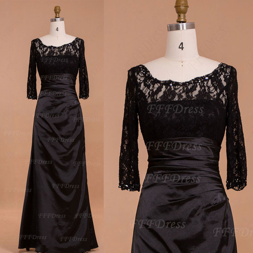 Modest Black Mother of the Bride dresses with Sleeves