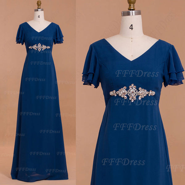 Modest blue mother of the bride dresses with sleeves