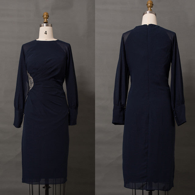 Modest navy blue mother of the bride dresses long sleeves knee length