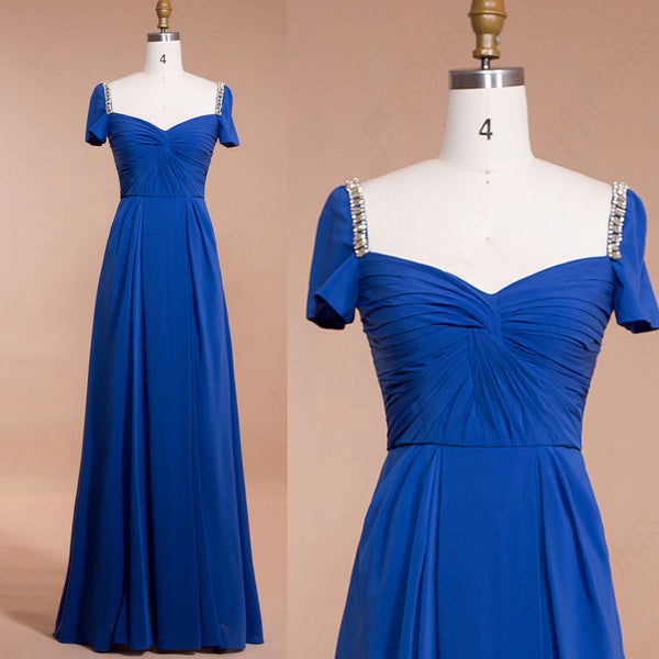 Modest Royal Blue Long Prom Dresses with Sleeves