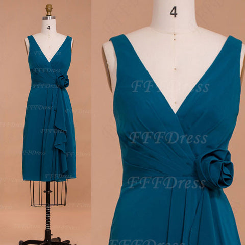 Teal Bridesmaid Dresses Knee Length