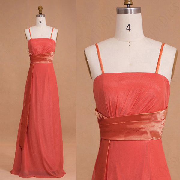 Spaghetti Straps Coral Bridesmaid Dresses Long