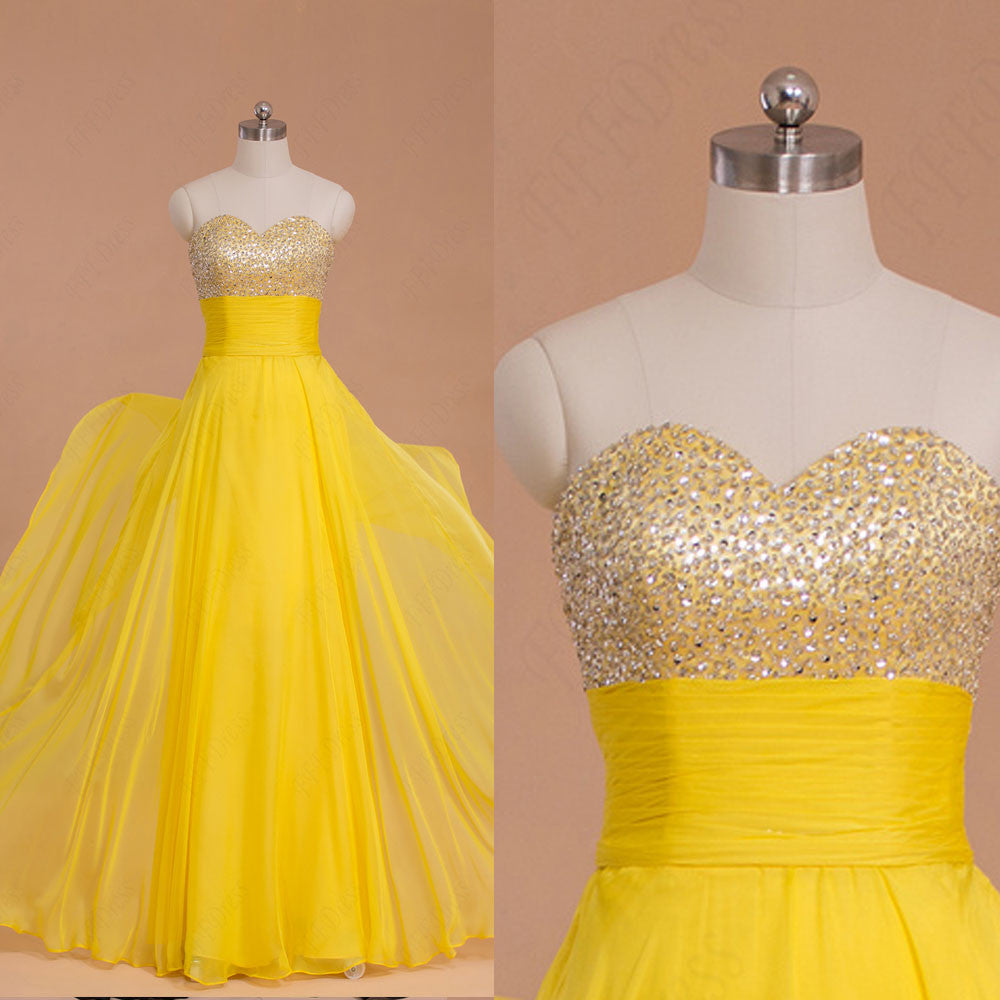 Beaded Yellow Flowing Chiffon Prom Dresses