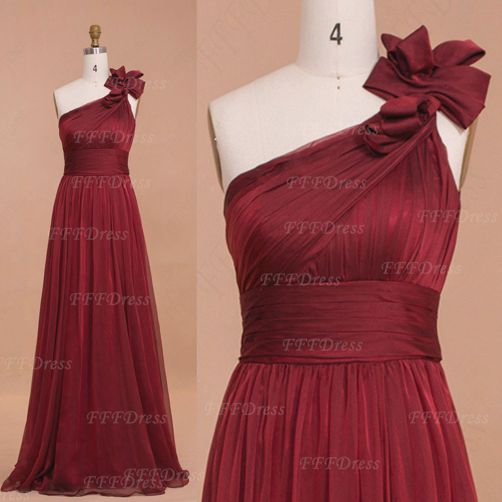 Elegant One Shoulder Burgundy Prom Dresses