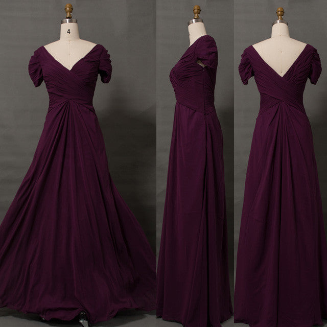 29be5d377fa Modest plum mother of the bride dress with sleeves V neck – MyPromDress