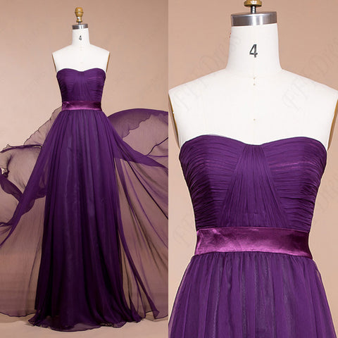 Purple bridesmaid dresses long sweetheart chiffon prom dresses