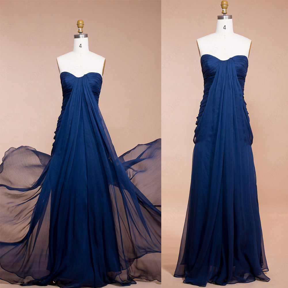Navy Blue Trumpet Long Prom Dresses Bridesmaid Dresses
