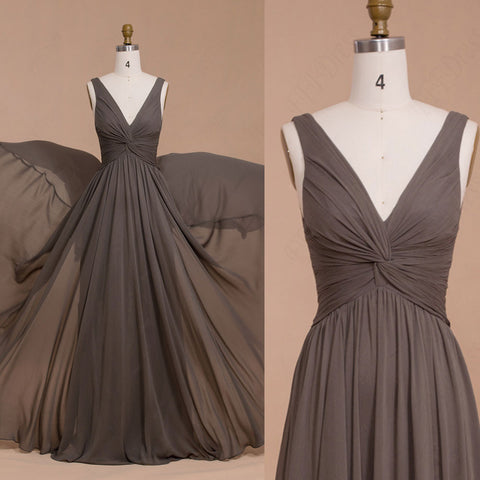 V Neck greyish brown bridesmaid dresses for wedding
