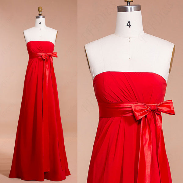 Red Maternity Bridesmaid Dresses with Bow and Ribbon
