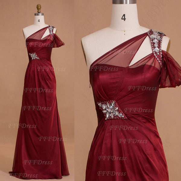Trumpet burgundy long prom dresses with hand sewn beadings