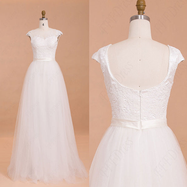 Backless Wedding Dresses Cap Sleeves Ball Gown Bridal dresses