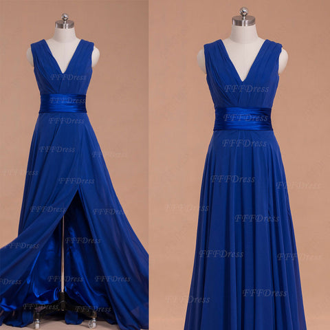 V Neck Royal blue long bridesmaid dresses with slit