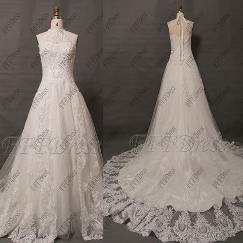 Halter lace ball gown wedding dresses