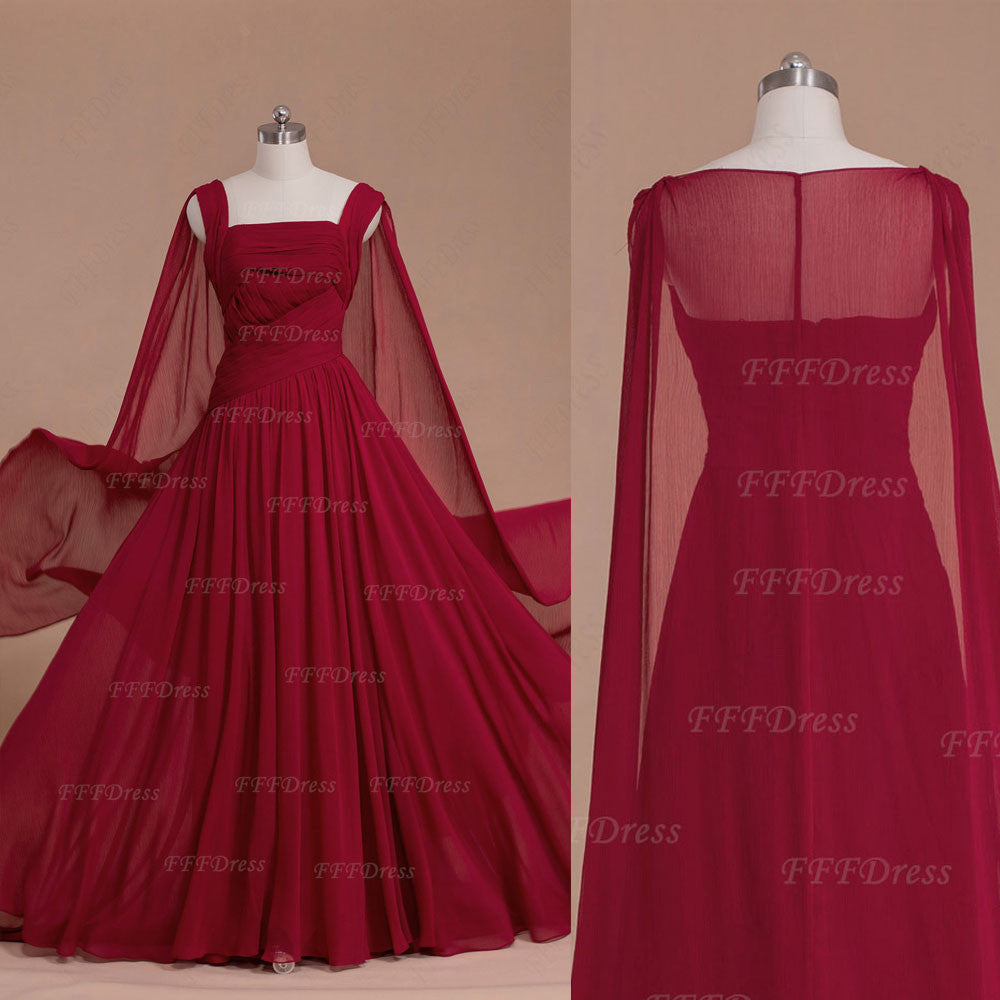 Burgundy long formal dresses with watteau train
