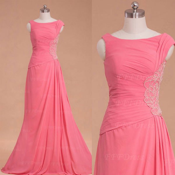 Modest pink Beaded prom dresses long