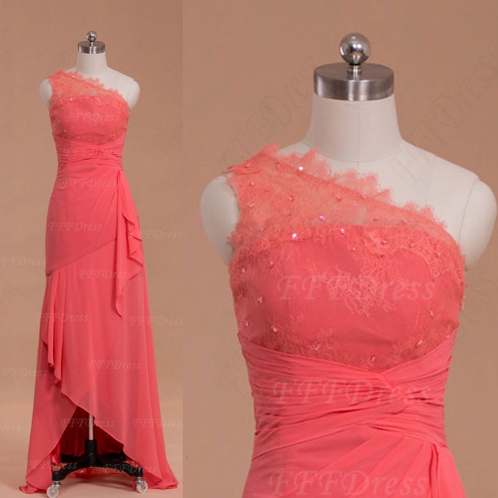 High Low Coral Bridesmaid Dresses