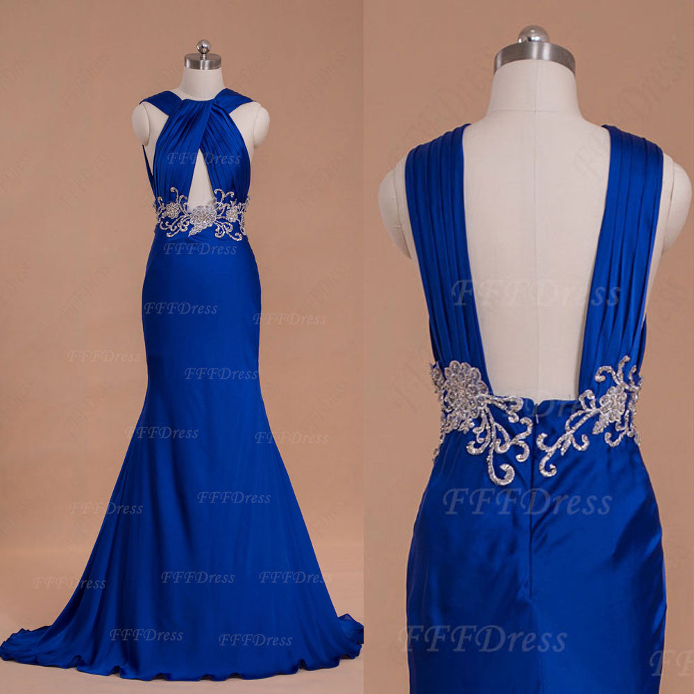 Trumpet Royal Blue Cut Out Prom Dress