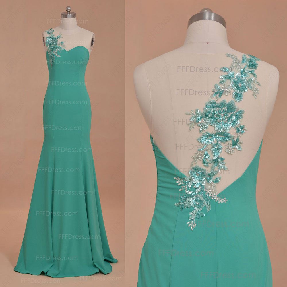 Mermaid beaded green backless prom dresses long
