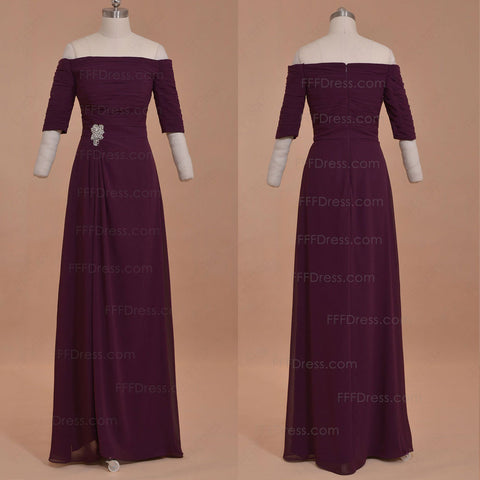 Plum mother of the bride dresses with sleeves