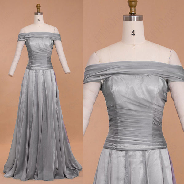 Off the shoulder grey chiffon formal dresses