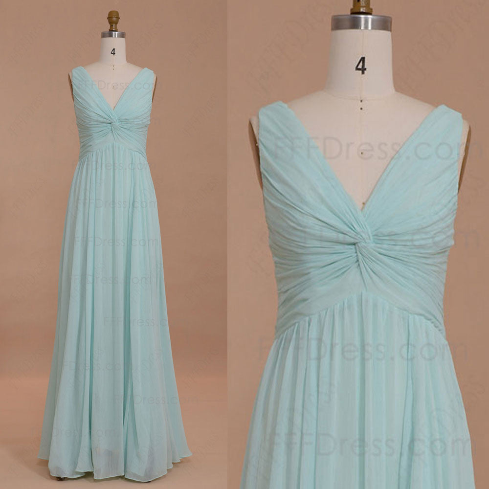 V neck mint green bridesmaid dresses
