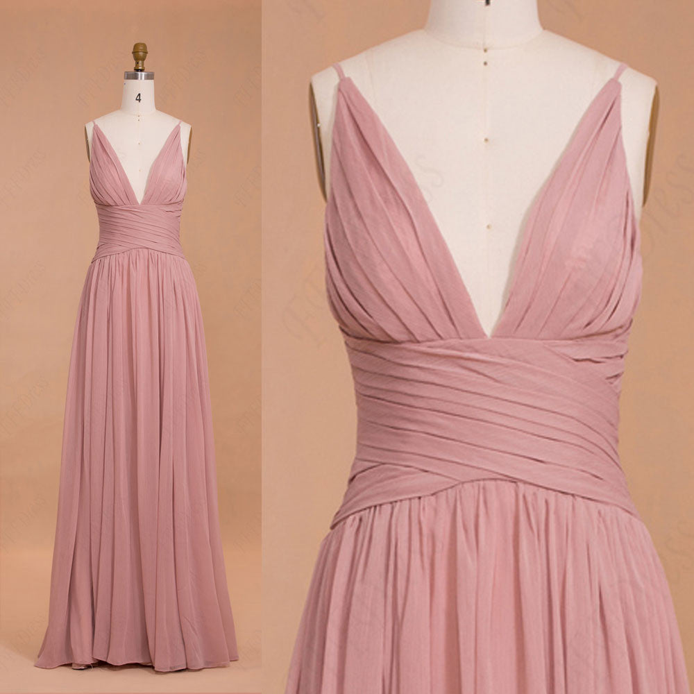 Spaghetti straps dusty pink bridesmaid dresses long – MyPromDress