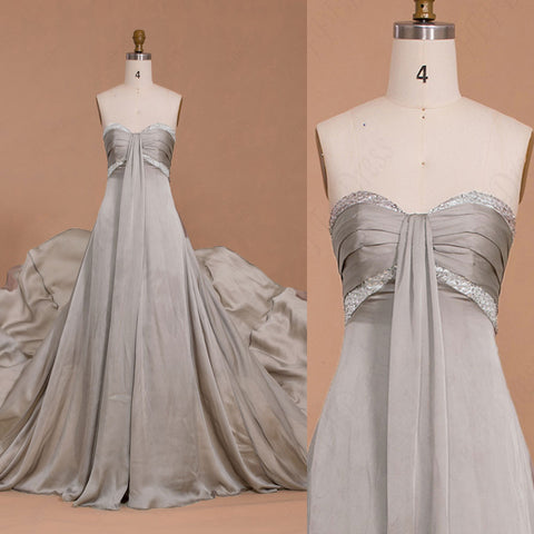 Silver Beaded long prom dresses with train