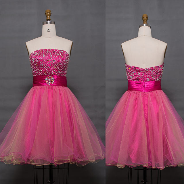 80593ad2a3f Beaded hot pink short prom dresses Homecoming dresses – MyPromDress