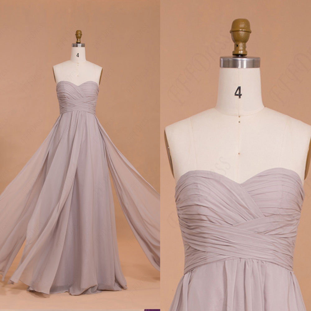 Sweetheart Grey Long Bridesmaid Dresses