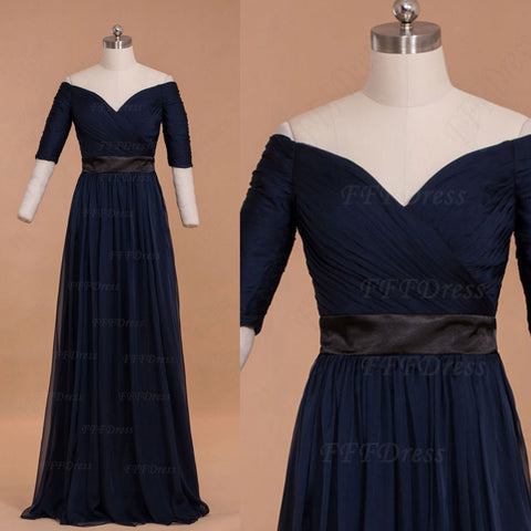 Modest Navy Blue Off the Shoulder Mother of the Bride Dresses with Sleeves