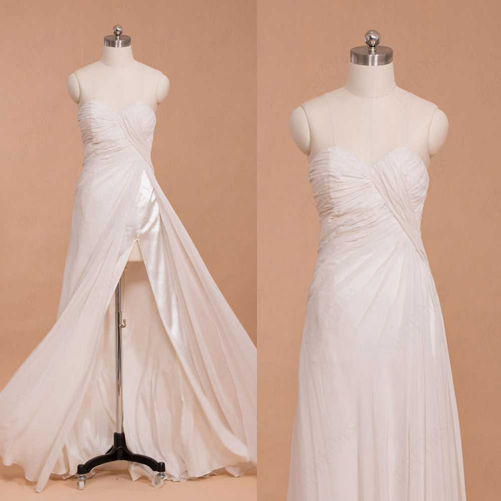 Sweetheart Chiffon Beach Wedding Dresses with Slit
