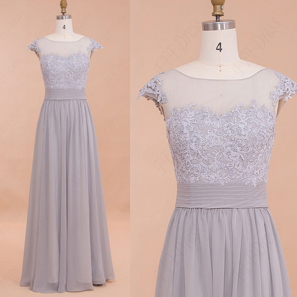 Modest Grey Bridesmaid dresses Wedding guest dresses Prom Gown
