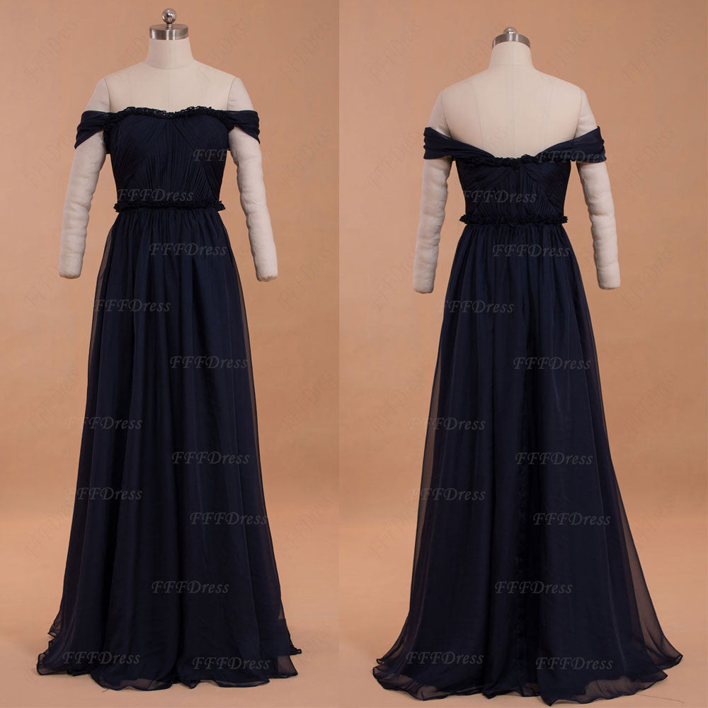 Dark navy blue off the shoulder prom dresses formal dresses with ruffles