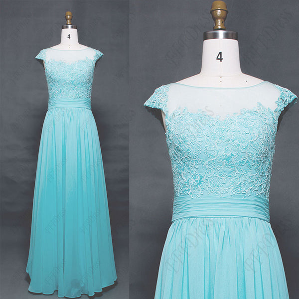 Light aqua blue long prom dresses cap sleeves