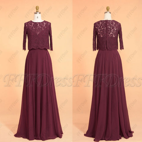Burgundy Modest Bridesmaid dresses with bolero elbow sleeves