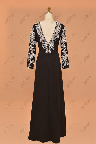 Long sleeves black prom dress with sparkly white lace